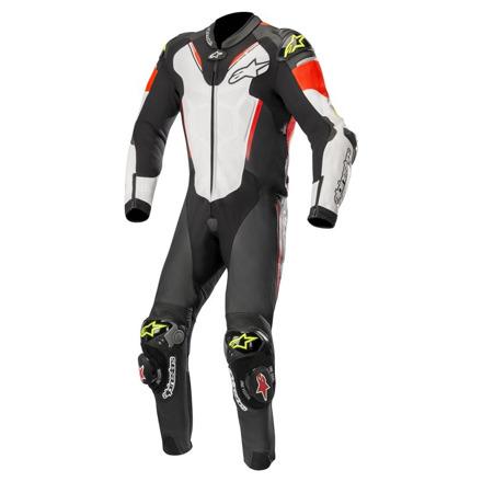 Atem V3 Leather Suit 1 PC - Zwart-Wit-Rood-Geel