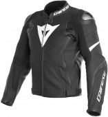 Avro 4 Perf. Leather Jacket - Mat Zwart-Wit