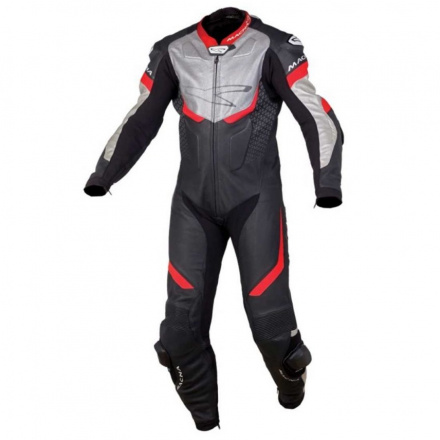 Macna Exone 1pc Suit, Zwart-Rood-Zilver (1 van 1)