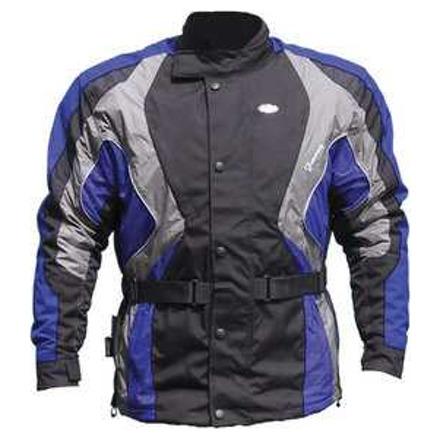 Fantasy textiele motorjas - Zwart-Antraciet-Blauw